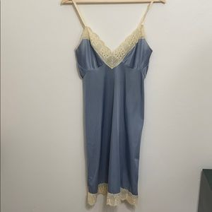 Cream lace and dusky blue nylon full slip chemise